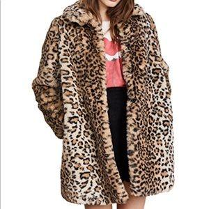 [Alice + Olivia] Leopard Kinsley Oversized Coat- S